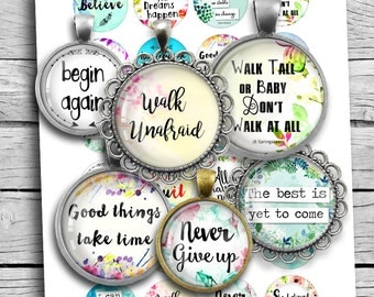 "Inspirational Quotes Boho Spirit 1.313"" 1.5"" 1"" 30mm 35mm Round images for Buttons, Bottle caps Printable Digital Collage Sheet"