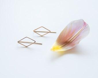 Rhombus earrings - geometric, golden brass, minimalist, original, sleek, diamond shape