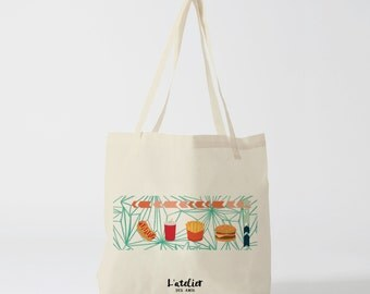 Tote bag Fast & Food, tote bag cotton bags tote bags, shopping bags, bags courses, diaper bags, bag burger and fries, graphic, to offer bag