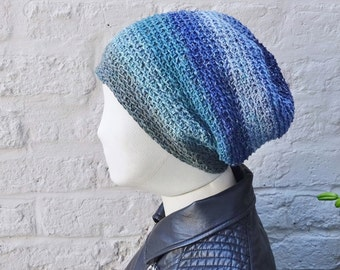 Slouchy crochet beanie - silk and wool slouchy hat - green blue - ready to ship