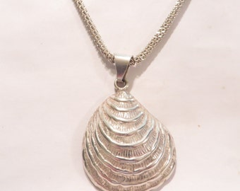 Large Sterling Silver Shell Pendant Necklace / Beach Jewelry / Ocean