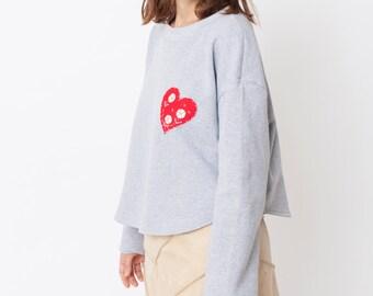 Women sweatshirt,hand embroidered sweatshirt, red heart sweatshirt, grey sweatshirt, oversize sweatshirt, croped sweatshirt