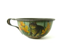 Vintage Cat Tinplate Cup -  rare and collectable miniature tin toy cup / lithographed kitten cat and flowers /sweet & adorable gift