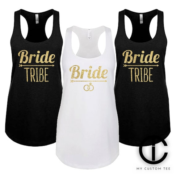 Set of 7 bride tribe squad gold glitter foil by mycustomtees for Bucket squad gold shirt