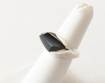 Size 6 Sterling Silver And Black Onyx Ring