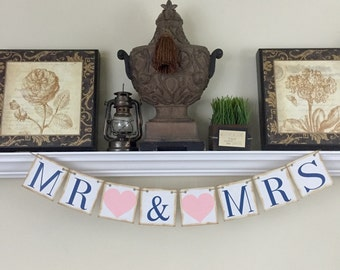 Wedding Banners, Mr and Mrs Banner, Wedding Reception Decorations, Sweetheart Table, Navy Blue and Pink