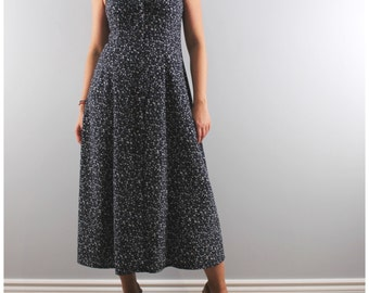 Vintage sleeveless long floral dress blue button front maxi flare 1990s medium prairie dress