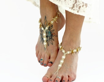 Starfish Barefoot Sandals Jewelry, Footwear Accessories, Real Starfish, Hemp and Pearls, Handmade, bottomless, soleless, footless toe thong