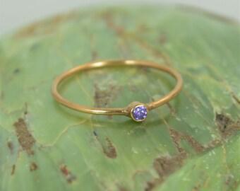 Tiny Amethyst Ring, Solid 14k Rose Gold Amethyst Stacking Ring, Amethyst Ring, Amethyst Mother's Ring, February Birthstone, Amethyst Rings
