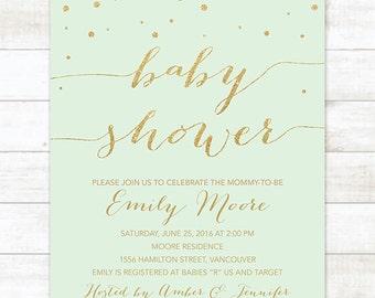 mint gold baby shower invitation printable confetti mint green gold glitter shower gender neutral digital invite customizable