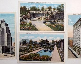 St Louis, vintage postcards, Bell Telephone, Shaws Garden, Boatmen's Bank, Zoo Forest Park, St. Louis, Missouri, lot of four old postcards
