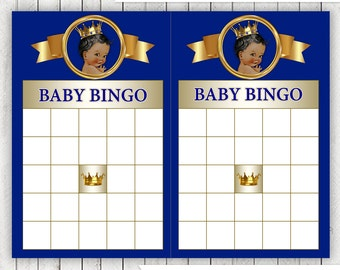 Prince Bingo Baby Shower Game Royal Blue Gold Ethnic Prince Baby Shower Game