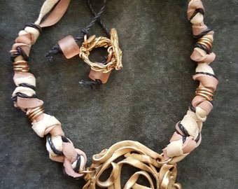 Bronze and Suede Necklace