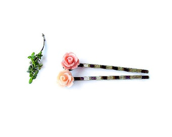 Flower Hair Pins, For Girls, Cute Floral Hair Accessory, Pastel Hair Pins, Rose Bobby Pins - set of 2