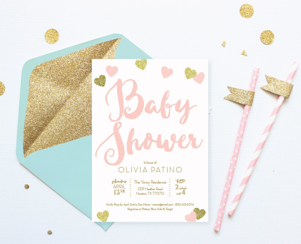 pink and gold baby shower invitation pink by hellorosepaperie