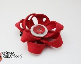 Fermaglio Cerniere Lampo Rosso, Bottone bianco e rosso