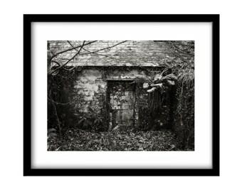 Abandoned house, FREE SHIPPING, black and white photography, pictures of Ireland, Irish photography, Irish landscape, black and white nature