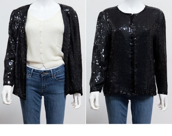 Black sequin jacket | Etsy