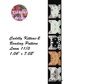 Cuddly Kittens-2 Loom Beaded Bracelet Pattern
