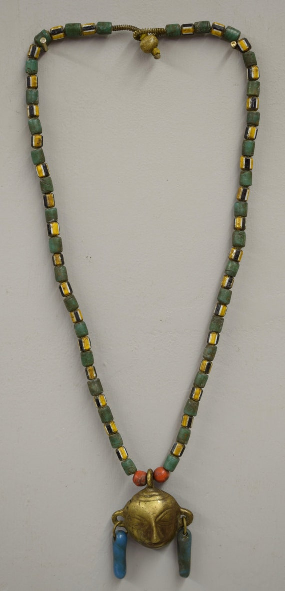 Naga Necklace Brass Head Pendant India Handmade Red Blue Chevron Glass Beads Trophy Naga Brass Head Necklace Unique