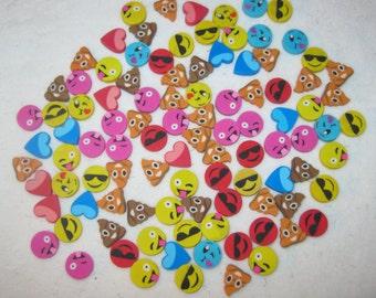 Emoji, Emoticon, Erasers, Party Favors, School Craft Supplies, Lot 100 Pieces New
