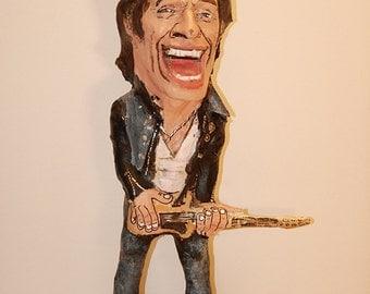 Bruce Springsteen sculpture, the boss, handmade paper mache figurine