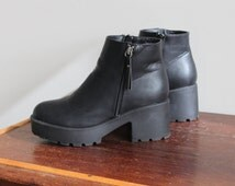 1990s Vintage Black Platform Chunky 90s Vegan Fake Leather Grunge Goth Platform Ankle Boots Booties