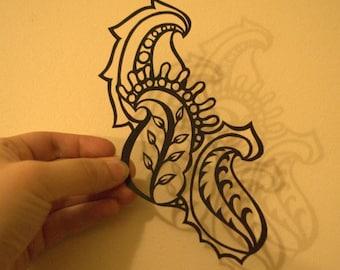 Black Paisley Hand Cut Paper Art