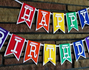 Happy Birthday Banner, Happy 1st Birthday, 2nd Birthday, Rainbow Banner