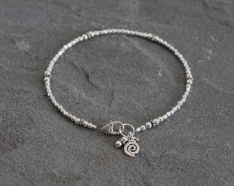 Sterling Silver Bracelet with Dangles, Beaded Silver Bracelet, Silver Bead Bracelet Silver Beaded Bracelet Swirl Charm Spiral Charm Bracelet