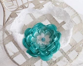 White and turquoise elastic headband, baby headband, lace elastic headband, infant headband, flower headband, turquoise, white, blue, flower