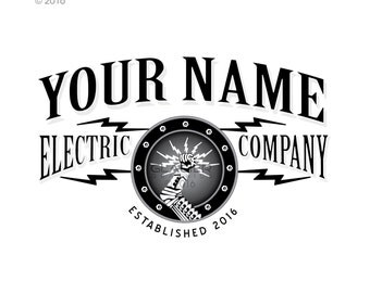 Steampunk Electrician Logo Electrical Lighting Sound System Low Voltage Victorian Pre