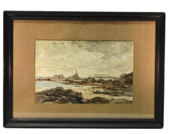 French Seascape Painting - Antique Watercolor Picture - Lighthouse Seaside of Brittany - French Wall Art