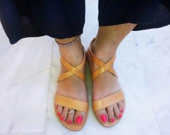 Handmade Leather Sandals - Open Toe Greek Sandals, Flat Sandals Women Handmade Sandals. Genuine Leather Handmade in Greece.