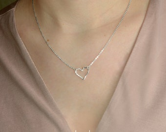 Heart Necklace, Love Necklace, Sterling Silver, Gold, Rose Gold, Delicate Necklace, Bridal Necklace, Bridesmaid, Mothers Day Gift