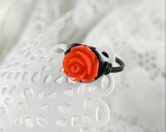 Red and Black Rose Ring, Mickey Mouse Ring, Disneyland Ring, Custom Rose Ring, Rose Statement Ring, Red Rose Ring, Coupon Code for 10%off