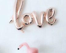 Love, Script Balloon, Banner, Rose Gold, Party Decor, Backdrop, Dessert Table, Party Prop - Birthday, Baby Shower, Bridal Shower