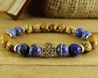 Mens bracelet Mens gift mens Gemstone bracelets Meditation bracelets Celtic bracelet Celtic knot bracelet Jasper bracelet Beaded braselets