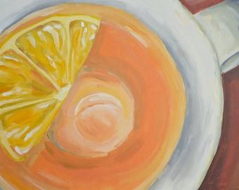 Lemon tea - original acrylic painting