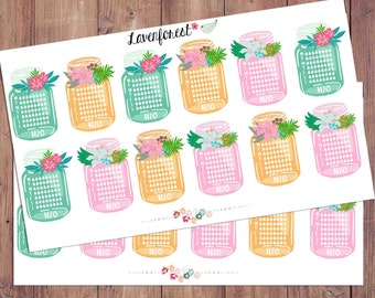 Weekly water planner stickers, hydrate stickers, water tracker stickers,hydrate planner stickers, FL002