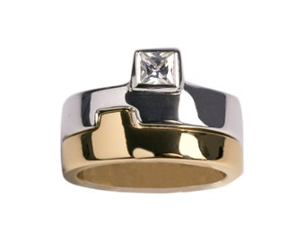 Puzzle ring, silver and gold plated