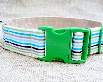 """Dog Collar: 1.5"""" Wide, Green/ Turquoise/ Blue/ Tan Woven Stripe with Green Powder-Coated Metal Buckle"""