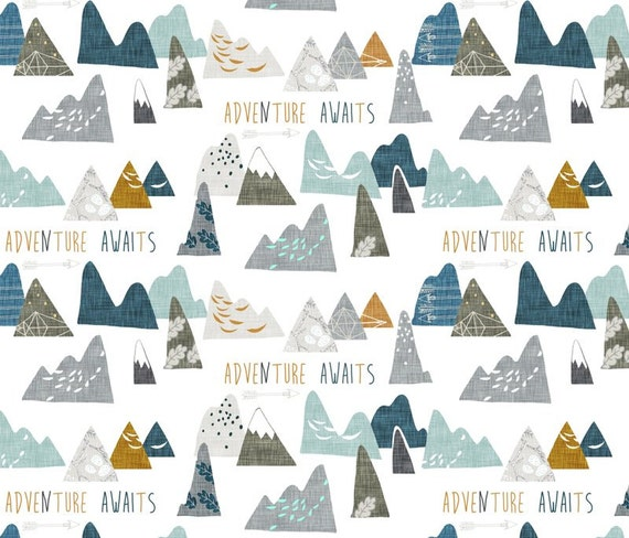 Adventure Awaits Mountain In White Quilting By Jacksonswovens