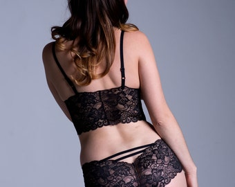 Ready To Ship - Small Side of Medium - Black Lace Panties - Sheer 'Sugarberry' Style Underwear - See Through Lacy Women's Lingerie