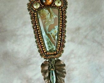 Necklace, bead embroidery, leaf, beaded, moss agate, tiger eye beaded necklace