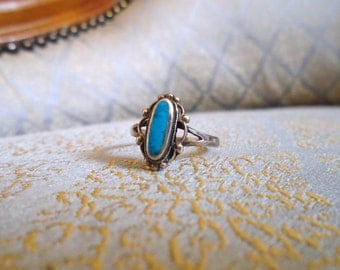 Vintage Turquoise Sterling Silver Ring Native American 60s 70s