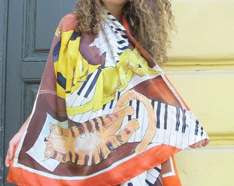 Silk Satin Scarf- Sleeping Cats/ Hand painted silk scarf/ Designer scarf/ Unique cats scarf Luxury shawl in warm colors/ Fall fashion KAD17