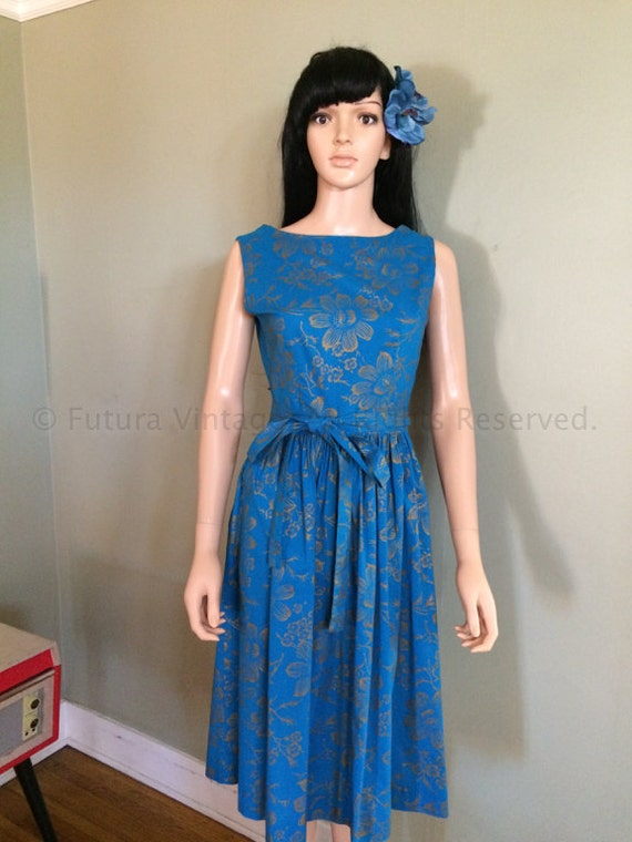 1950s Fabulous CAROL BRENT Vintage Blue Hawaiian Style Wrap Dress with Gold Floral Pattern Hidden Side Pocket-S M Free Shipping