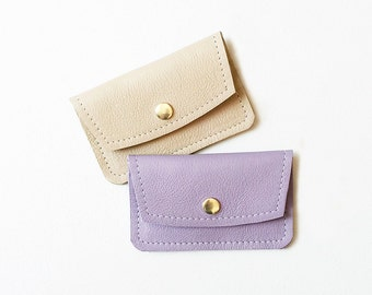 Lavender Credit Card Wallet, Pastel Leather Business Card Wallet, ID Wallet, Minimal Women's Card Case, Gift Card Holder, Metro Card Pouch