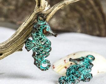 Mykonos Fancy Filigree Seahorse Pendant, Verdigris Green Patina, Greek Mykonos Casting Metal Nautical Beach Charm